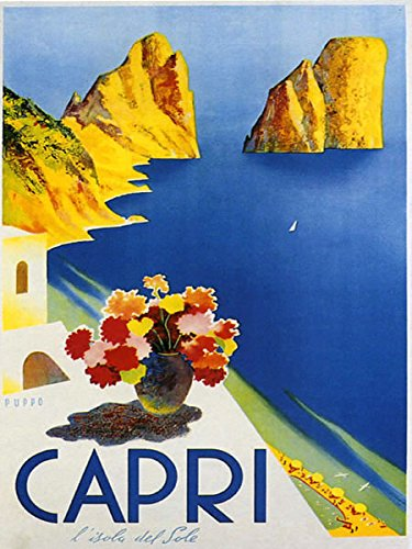 """16""""x20"""" Capri Italy Gulf of Naples Ocean Sea Italia Italian Travel Vintage Poster Repro Standard Image Size for Framing. We Have Other"""