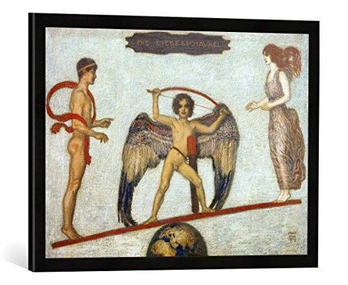 Gerahmtes Bild von Franz Von Stuck Die Liebesschaukel, Kunstdruck im hochwertigen handgefertigten Bilder-Rahmen, 70x50 cm, Schwarz matt