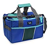 POLAR PACK 18 Can Double Handle Square Box Collapsible Cooler Bag Soft Portable Insulated Picnic Bag Outdoor Indoor Travel Lunch Bag for Camping, School, Travel & Sports (Royal & Teal)
