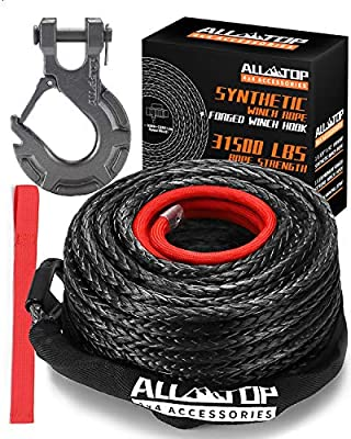 "ALL-TOP Synthetic Winch Rope Cable Kit: 1/2"" x 92 ft 31500LBS Winch Line with Protective Sleeve + Forged Winch Hook + Safety Pull Strap go for 4WD Off Road Vehicle Truck SUV Jeep ATV UTV"