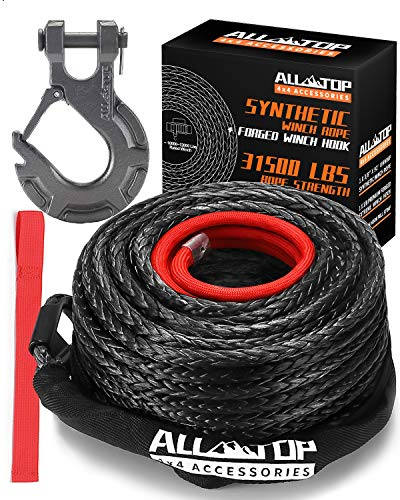 ALL-TOP Synthetic Winch Rope Cable Kit: 1/2