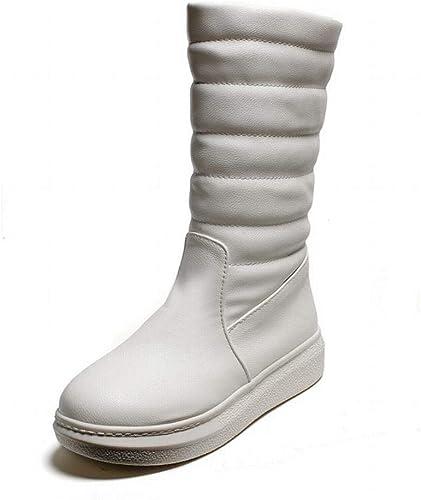 Fuxitoggo Bottes pour Les Les dames - - Bottes d'hiver Chaudes antidérapantes et Plates Chaussures Longues en Coton Tubulaire   35-43 (Couleuré   Blanc, Taille   38)  profiter de vos achats