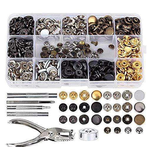 Conjunto de metal broche de presión del remache DIY herramienta sujetador del remache de fijación Kit de herramientas Hombres Mujeres Reparaciones Decoración 286PCS