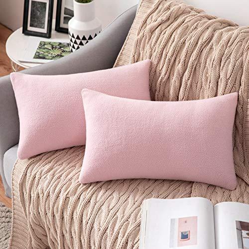 MIULEE 2 Unidades Fundas de cojín para sofá Almohada Caso de Diseño Compuesto de Polar Fleece Cómodo Decoración para Habitacion Juvenil Sofá Comedor Cama Dormitorio Oficina 30 x 50cm Rosa