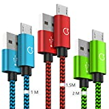 Gritin Câble Micro USB [1m+1.5m+2m / Lot de 3], Cable Micro USB en Nylon Tressé Câble Cordon Micro USB - Garantie A Vie - pour Samsung, Appareils Android, Sony, HTC, Nexus, etc - Multicolore