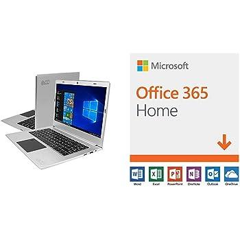 "EVOO EV-C-125-3-SL 12.5"" HD Ultra Slim Laptop, Intel Celeron Quad Core CPU, 3GB RAM, 32GB Storage, Fingerprint Scanner, Silver with Microsoft Office 365 Home"