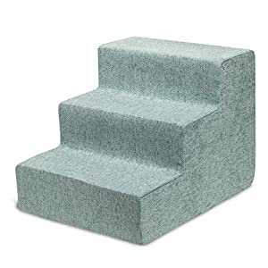 Best Pet Supplies USA Made Pet Steps/Stairs with CertiPUR-US Certified Foam for Dogs & Cats Pale Teal, 3-Step (H: 13.5″)