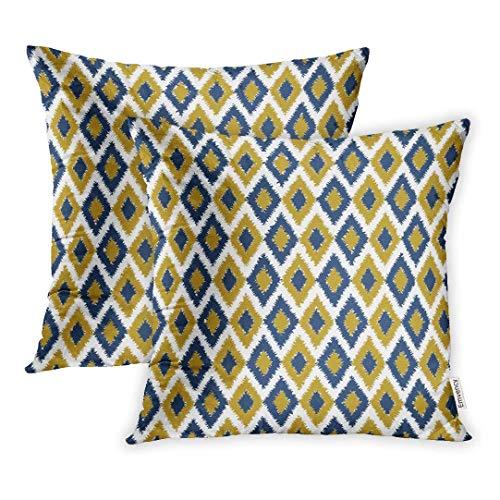 okstore1988 Juego de 1 funda de almohada decorativa de 45,7 x 45,7 cm, color azul y amarillo, diseño de rombos de color verde y negro