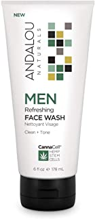 Andalou Naturals Men Refreshing Face Wash with CannaCell, 6 Ounce, 178 ML