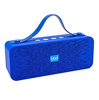 Powerful Stereo Bluetooth Wireless Speaker Portable w/Hand Strap Aux Cord FM Radio Built-in Mic w/Hands-Free Calling 10M Range by Blue Beat Digital [Blue]
