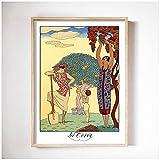 Shmjql George Barbier Wall Art Posters E Impresiones Impresión Decorativa Pintura Imagen Sala De Estar Dormitorio En Casa Decoración del Hogar-50X70Cmx1 Sin Marco