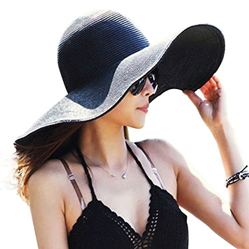 DRESHOW Frauen Breit Rand Stroh Panama Roll up Hut Fedora Strand Sonnenhut - Nero - Gr. Einheitsgröße