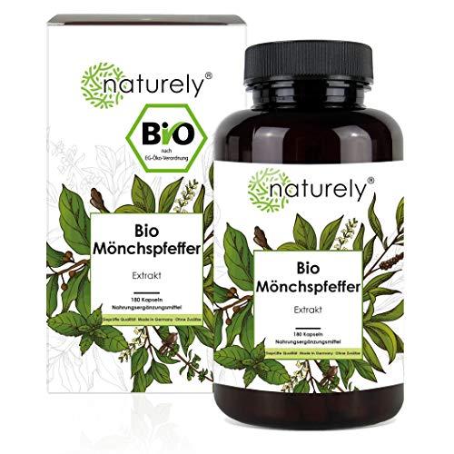 naturely® BIO Mönchspfeffer Extrakt - Einführungspreis - 180 Kapseln - Original Vitex Agnus Castus - 10mg Extrakt je Kapsel - 6 Monats Vorrat, vegan, laborgeprüft, hergestellt in Deutschland