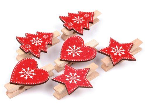 Wäscheklammer 6x45mm - 6 stück aus Holz - Weihnachten mit Herz, Stern, Baum