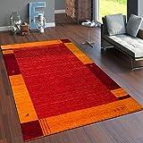 Paco Home Tappeto Tessuto A Mano Gabbeh Pregiato 100% Lana Bordi in Terracotta Arancione, Dimensione:80x150 cm