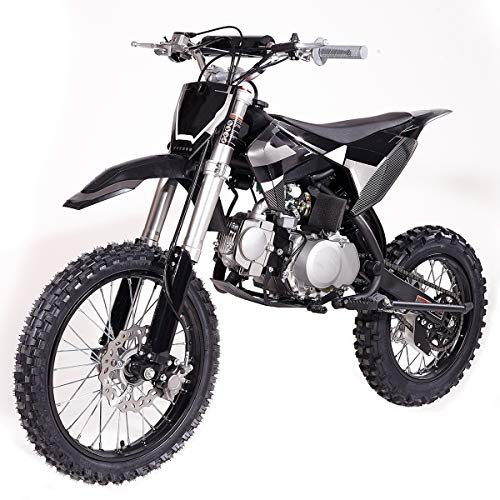 "X-PRO 125cc Dirt Bike Pit Bike Adults Dirt Pit Bike 125 Dirt Bike Dirt Pitbike,Big 17""/14"" Tires! Cradle Type Steel Tube Frame! (Black)"
