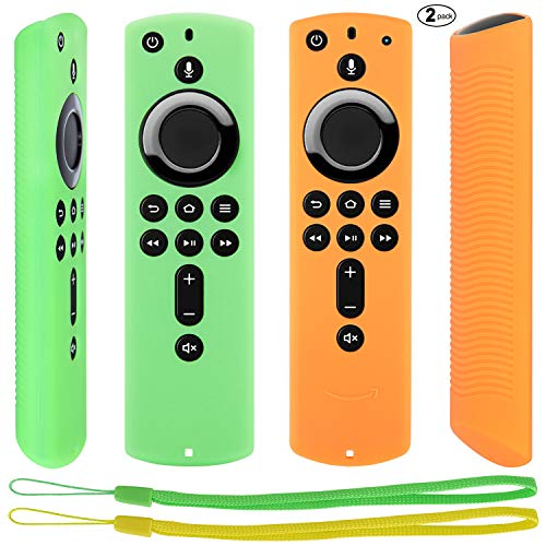 Pinowu Fernbedienung Schutzhülle kompatibel mit Fire TV Stick 4K Alexa-Sprachfernbedienung, Stoßfestes Silikon Haut mit Trageschlaufe (2 Stück: Grün und Orange)