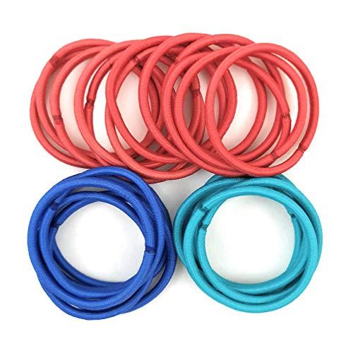 Delhaize-Care Élastiques Cheveux sans Métal - Épaisseur 4 mm - Diamètre 45 mm - 25 Unités - Femmes/Filles - [Emballage Écologique] (Rouge, Bleu roi, Bleu turquoise)