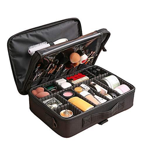 Doudou cosmeticatasje, voor vrouwen, make-up, reizen, organizer, voor vrouwen, van leer, cosmeticadoos, borstelhouder, draagbaar, met verstelbare scheidingswand