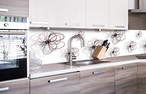 DIMEX LINE Küchenrückwand Folie selbstklebend ROT-Schwarze Blumen | Klebefolie - Dekofolie - Spritzschutz für Küche | Premium QUALITÄT - Made in EU | 260 cm x 60 cm