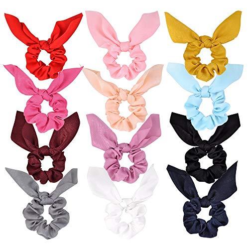 12 paquetes de Gomas para el Pelo Conejo Oreja Lazo para el Cabello Bandas para el Cabello Gomas de raso Elástico Cintas para el Cabello Bandas Cola de Caballo para Niñas Mujeres …