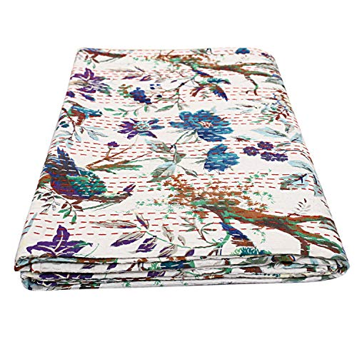 Janki Creation Indian Bird Print Bed Cover Hippie Queen Cotton Kantha Quilts Bohemian Handmade Reversible Bedding Bedspread Throw Quilts