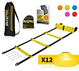 Bltzpro Football and Soccer Training Equipment - Cones & Agility Ladder Speed...