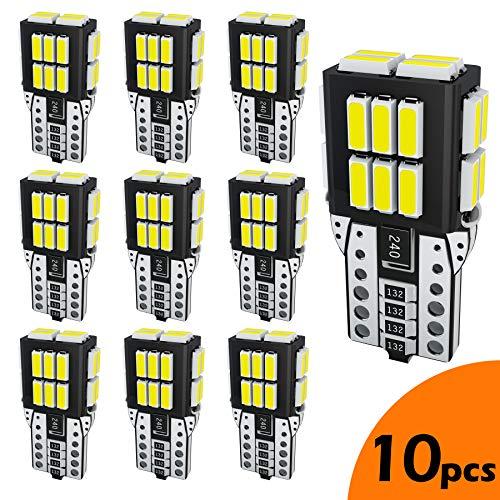LUMENEX T10 LED Bombillas CANBUS W5W 2825 194 168 24SMD 12V para Coche Luz de Puertas Laterales Marcador Cortesía De La Matrícula Posición Luces Blanco 10PCS