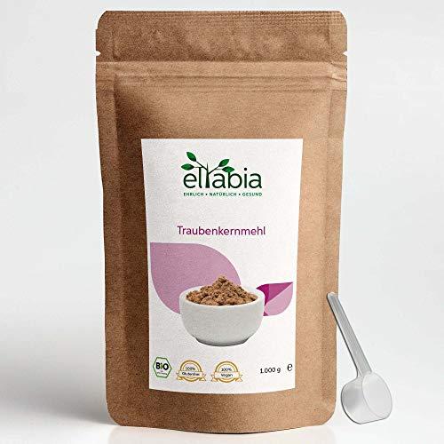 eltabia OPC Bio Traubenkernmehl 1kg Maxi Pack 100{058284263b2a6d758ea9b6d7f53f64f53c4a4d0dd102ca30a18066a35244cd06} rein ohne Zusätze, Laborgeprüftes Traubenkernextrakt Pulver in Rohkostqualität aus europäischen Weintrauben
