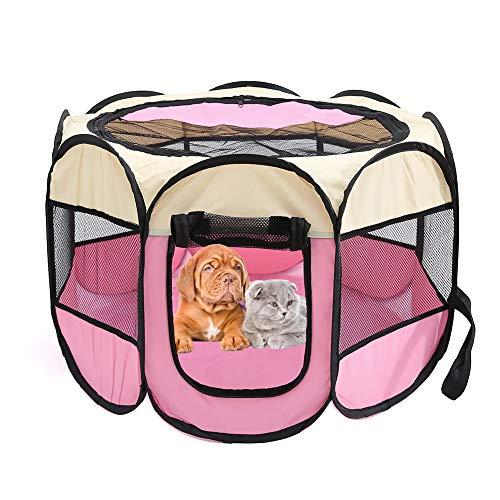 Tenda per animali domestici ottagonale in tessuto Oxford resistente ai graffi, per esterni, impermeabile, per giocare, recinto pieghevole per casa del cane, rimovibile, portatile, (rosa rosa)