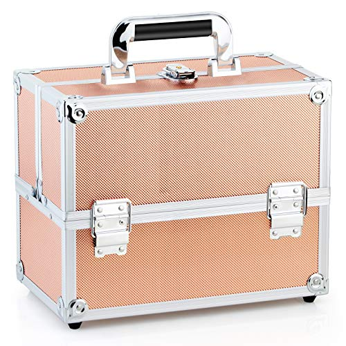 Travel Train Case - Portable Aluminum Cosmetics Storage Box with Folding Trays Rose Golden