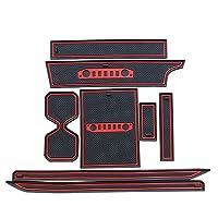 Jimny 2019車内ラテックス非スリップゲートスロットパッドカップホルダーマット8個騒音低減 后 カーインテリアの装飾 ステッカー 装飾 (Color : 赤)