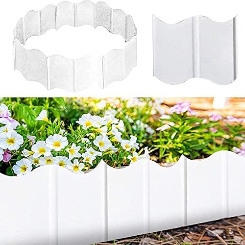 ZFHH 20pcs Plastics Garden Edging Fence, DIY Decorative Flower Bed and Grass Garden Border,Garden Border Edging, Corrugated Garden Lawn Edge,Road Plant Palisade for Flower Grass Bed (White)