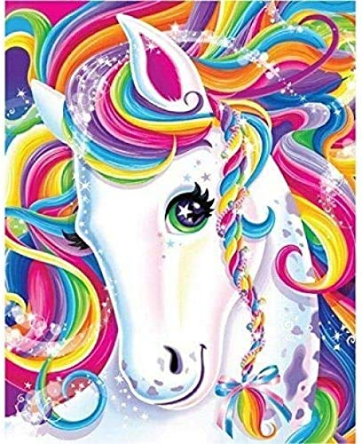 DIY 5D Diamond Painting Kits for Adults Unicorn Full Drill Round Diamond Gem Art Painting for Kids Perfect for Home Wall Decor(12x16inch/30x40cm)