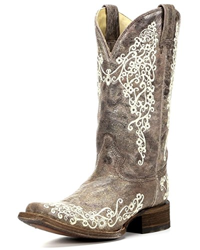 Corral Womens Brown Crater Bone Embroidery Cowboy Boot