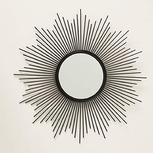 Home Collection Metall Wandobjekt Wandbild Sonne Sonnen Spiegel D50cm schwarz Eisen