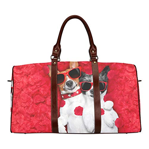 Duffel Bag Kids Dog Lying In Bed Full Of Red Flower Waterproof Microfiber Leather Carryon Bag Handbags Medium Best Weekend Bag Comfortable Travel Bag Shoulder Tote Bag