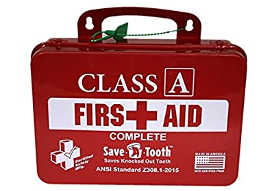 Certified Safety K616-061 18PR Class A Complete First Aid Kit, ANSI Z308.1-2015, Plastic Case, Red by Certified Safety MFG