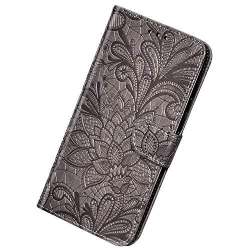 Herbests Compatible avec Samsung Galaxy J4 2018 Coque Cuir PU Dentelle Portefeuille Housse Étui à Rabat Stand Case Fermeture Magnétique Flip Clapet 360 Degres Incassable Wallet Cover,Gris