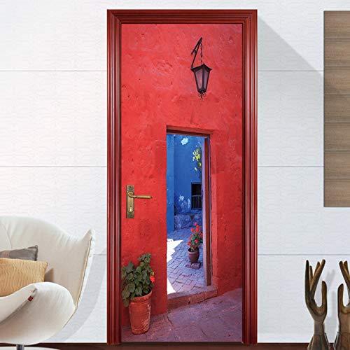 RGAHOT 3D Türaufkleber Courtyard Red Door Art Schlafzimmer Wohnzimmer Badezimmer TürPoster selbstklebend Fototapete Türfolie DIY Wandbild Art Dekoration PVC Wasserdichte Tapete 77x200CM