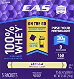 EAS 100% Whey On-the-Go Protein Powder Packets, Vanilla, 1.5 Ounce, 5...