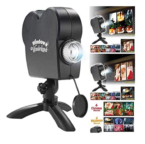 CMrtew Christmas Holographic Projection, Halloween Christmas Projector Lights with a Tripod, 12 Patterns Festival Outdoor Decor for Holiday Party Decoration Wall Motion (Black)