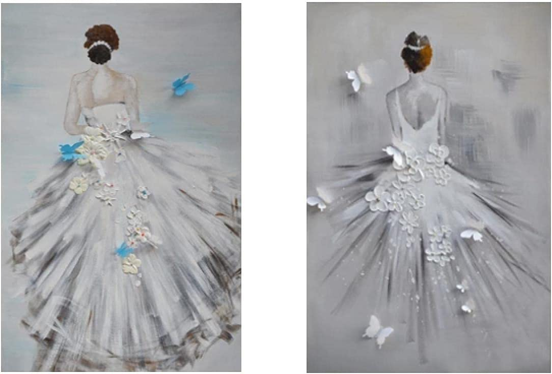 unisex Max 78% OFF Nordic Canvas Painting White Girls Dress P Back And View Posters