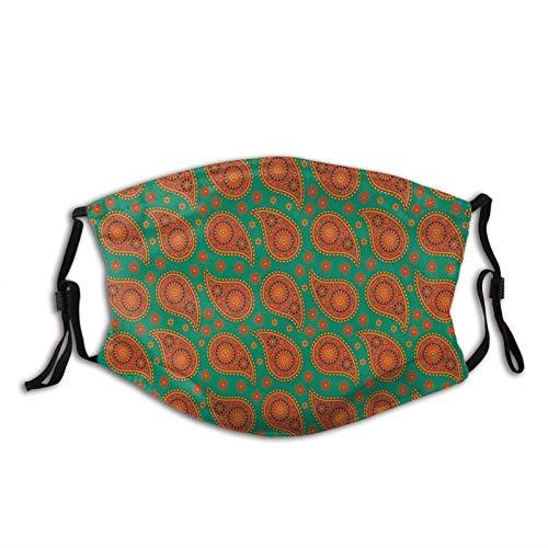 Cómodo diseño de mandala étnico Bohem inspirado en patrones florales naranjas con telón de fondo verde, decoración facial impresa para adultos