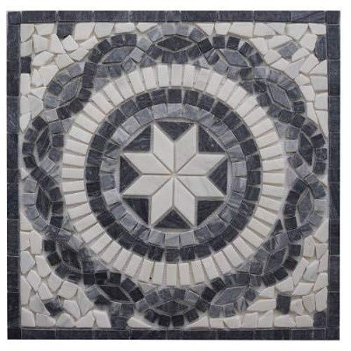 Antikmarmor Rosone 66x66 Windrose Mosaik Fliesen Naturstein Schwarz Weiss EM4
