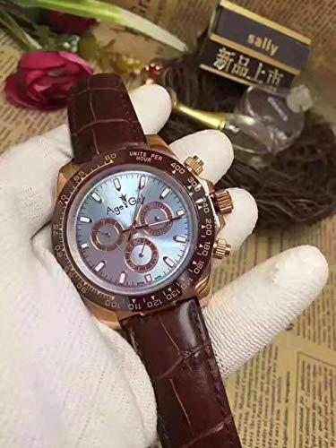 GFDSA Automatische horloges Merk Heren Luxe Rose Goud Chocolade Keramiek Bezel Bruin Leer Automatische mechanische saffierhorloges voor heren