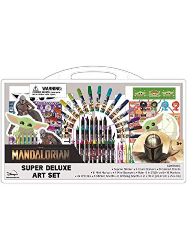 Innovative Designs Star Wars Mandalorian Baby Yoda Super Deluxe Art Supplies Set w/ Coloring Pages, Stampers, & Stickers