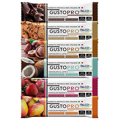 GUSTOPRO BOX 24 – Barretta Proteica Senza Zucchero, Croccante, Puro Cioccolato Fondente, al Latte e Bianco nei 6 Gusti, 30% di Proteine Del Siero del Latte (Whey Protein) (24x40g) (4 per gusto)