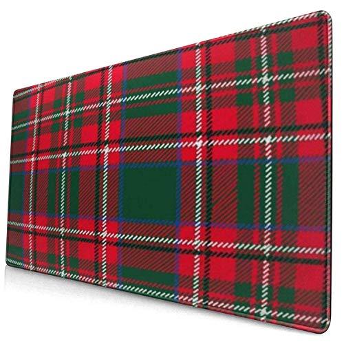 HENTIN Antislip rubberen gamingmuismat, rechthoekige muismat Geel patroon Schotse ruit Plaid Retro Kerstmis Nieuwjaar Traditioneel rood Zwart Groen Schots Abstract