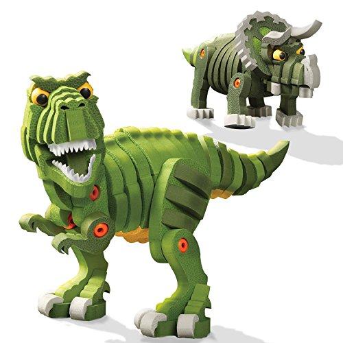 Bloco Toys T-Rex & Triceratops | STEM Toy | Jurassic Dinosaurs | DIY Building Construction Set (200 Pieces)